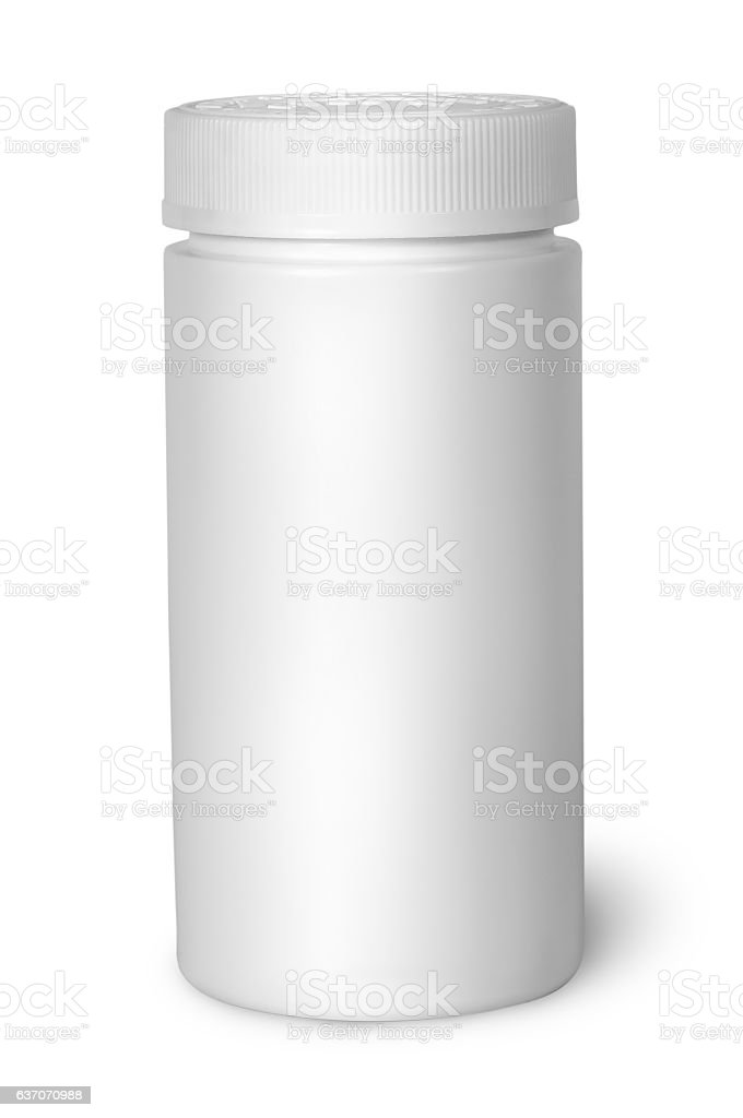 White plastic bottle for vitamins with lid closed stock photo