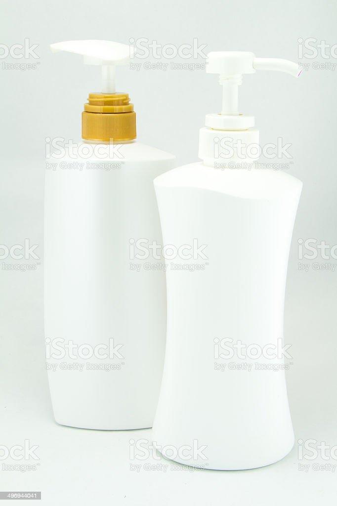 White plastic bottles for cosmetic stock photo