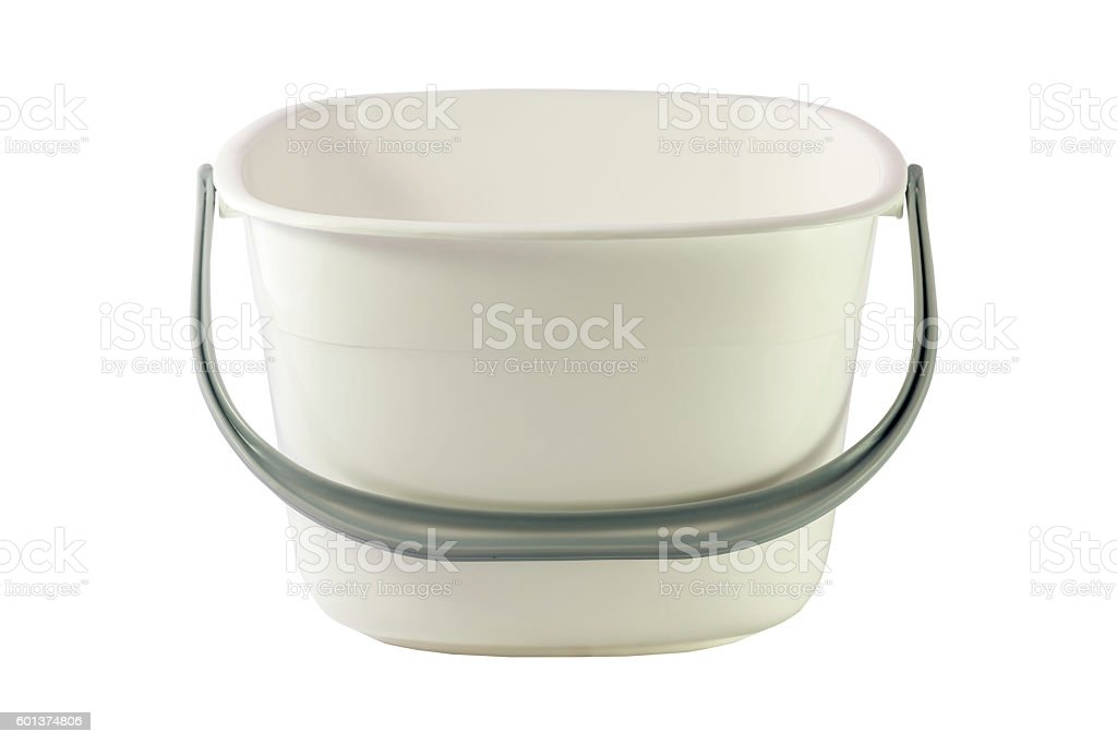 White plastic bucket for products isolated on white background. stock photo