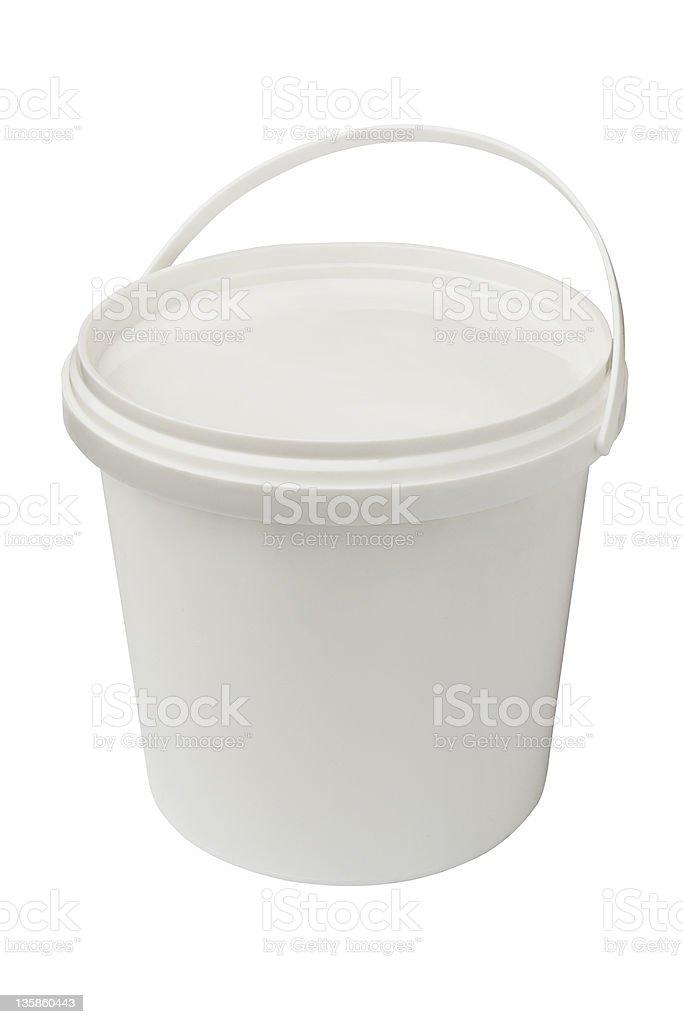white plastic bucket stock photo