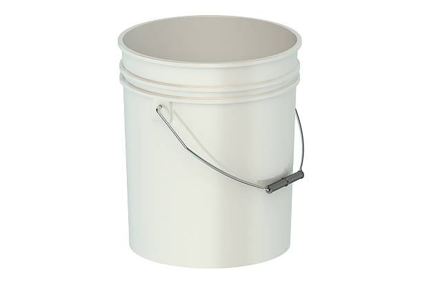 white plastic bucket stock photo