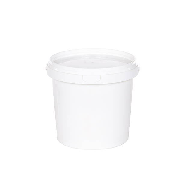 White plastic bucket with lid on  white background White plastic bucket with lid on a white background gallon stock pictures, royalty-free photos & images