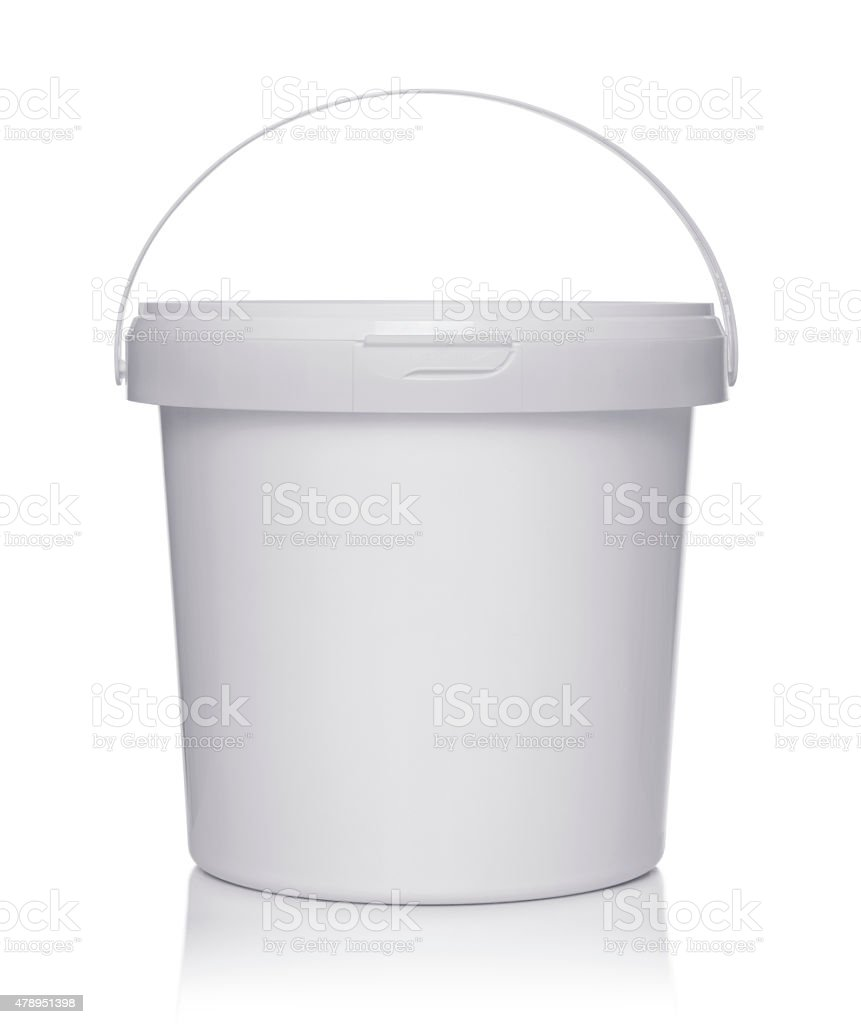 White plastic bucket with lid stock photo