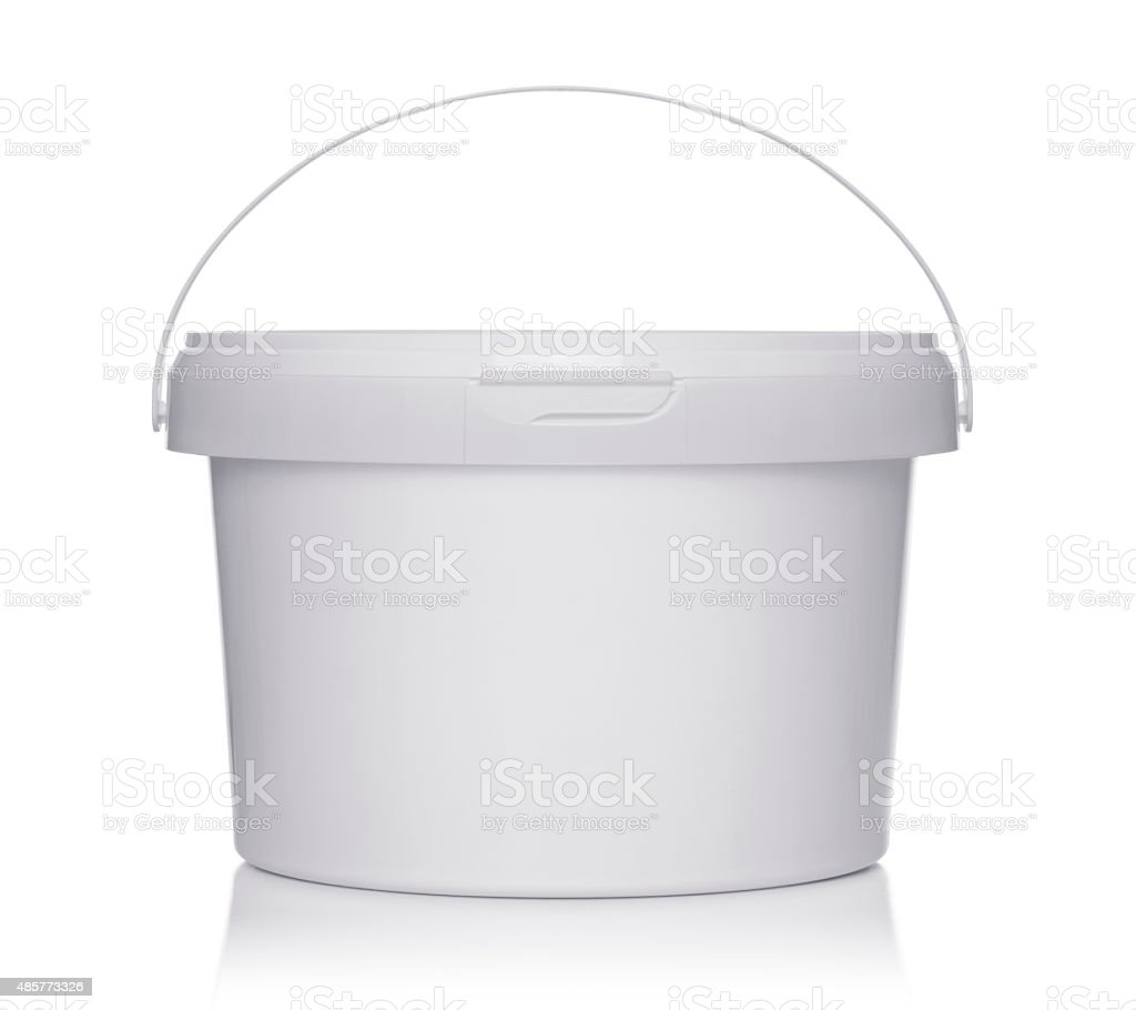 White plastic bucket with lid. stock photo