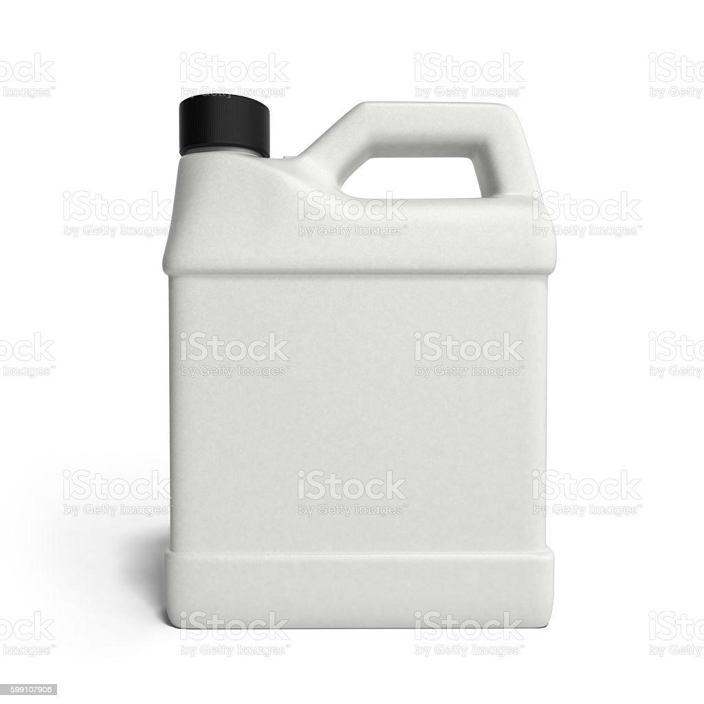 white plastic canister for motor oil isolated on white backgroun stock photo