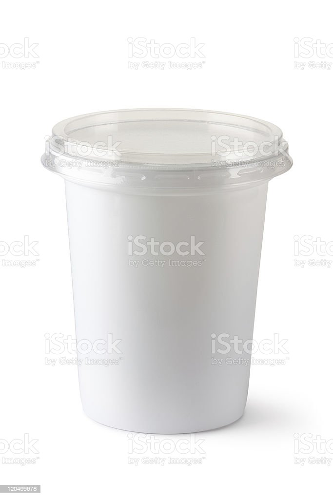 White plastic container for dairy foods royalty-free stock photo