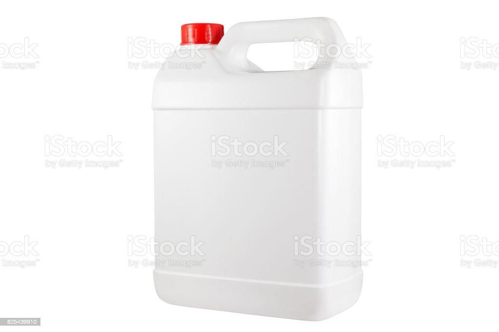 White plastic container red cap stock photo