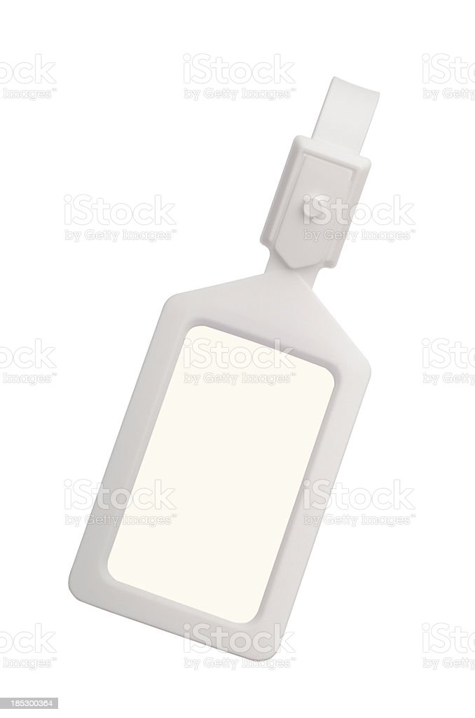 White plastic luggage tag with clipping paths stock photo