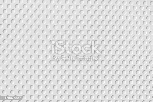 White plastic surface with round holes pattern. Large macro texture and background
