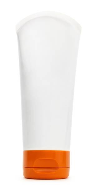 White Plastic Tube Bottle Container stock photo