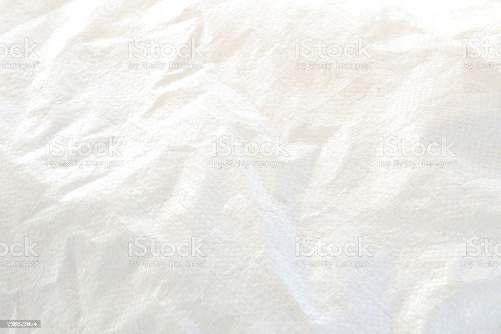 White  plastic woven sack texture. stock photo