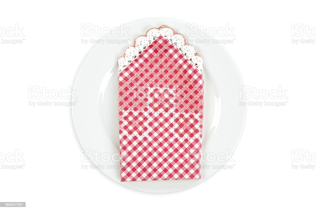 White plate and napkin royalty-free stock photo