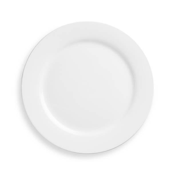 a white plate on a white background - plate stock pictures, royalty-free photos & images