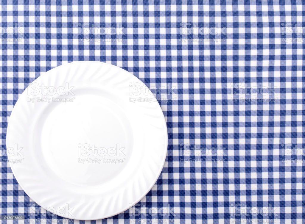 White Plate On Blue And White Checkered Fabric Tablecloth Background Stock  Photo   Download Image Now