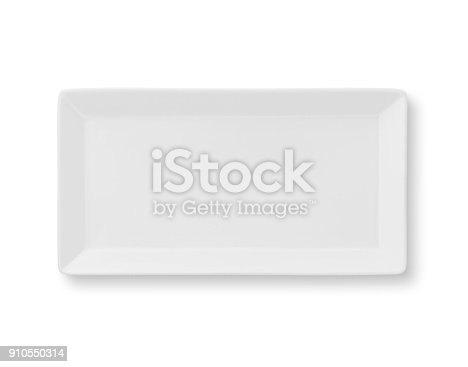 Empty rectangle white plate view from top isolated on white (excluding the shadow)