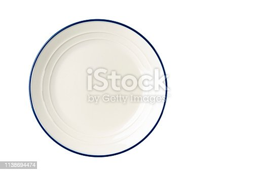 White plate with a blue stripe on the edge. Isolate View from above