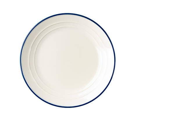 white plate with a blue stripe on the edge. - plate stock pictures, royalty-free photos & images