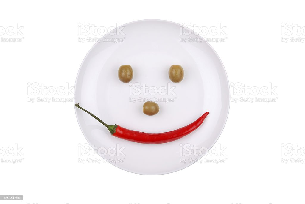 White plate with chili pepper and olives royalty-free stock photo