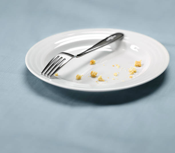 white plate with crumbs, satisfied meal - tallrik uppätet bildbanksfoton och bilder