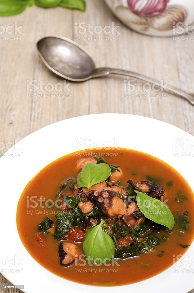 White plate with squid and basil royalty-free stock photo