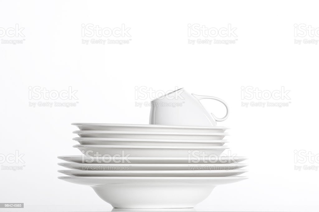 white plates and cup royalty-free stock photo
