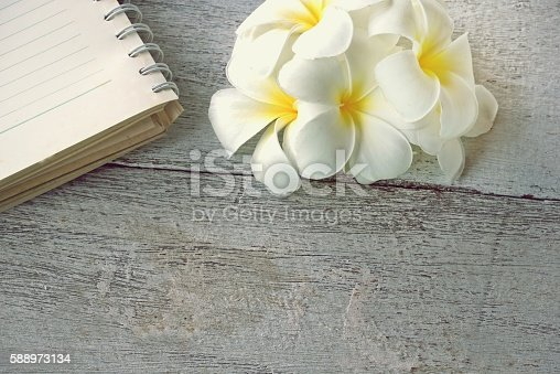 611108702 istock photo white plumeria flower and notebook on wood background 588973134