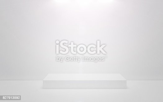 istock White podium on a white background. 3d render 827913592