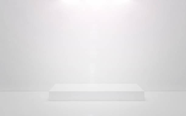white podium on a white background. 3d render - construction platform stock pictures, royalty-free photos & images