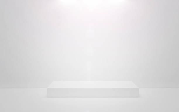 vita pallen på en vit bakgrund. 3d render - piedestal bildbanksfoton och bilder