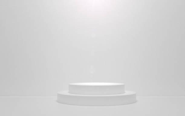 White podium on a white background. 3d render stock photo