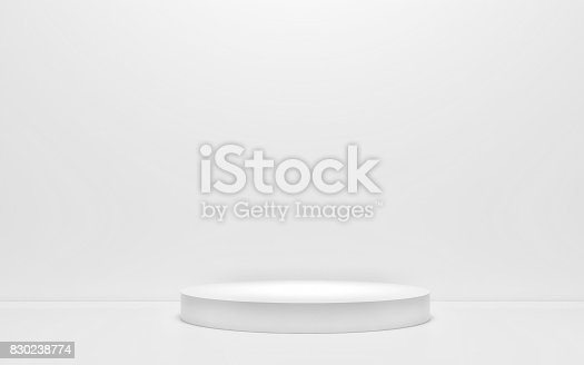 istock White podium on a white background. 3d render 830238774