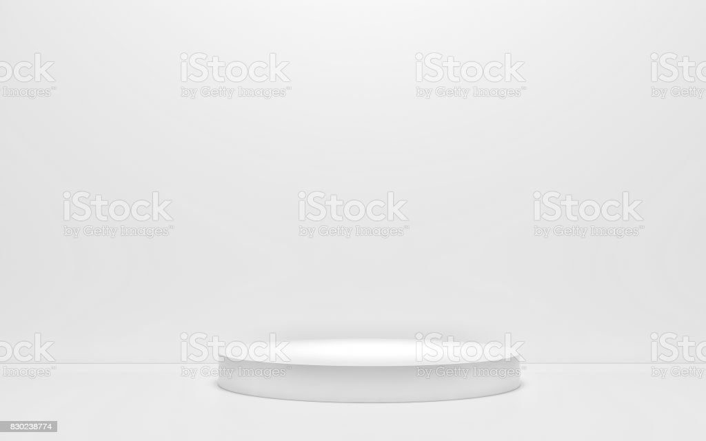 White podium on a white background. 3d render stock photo