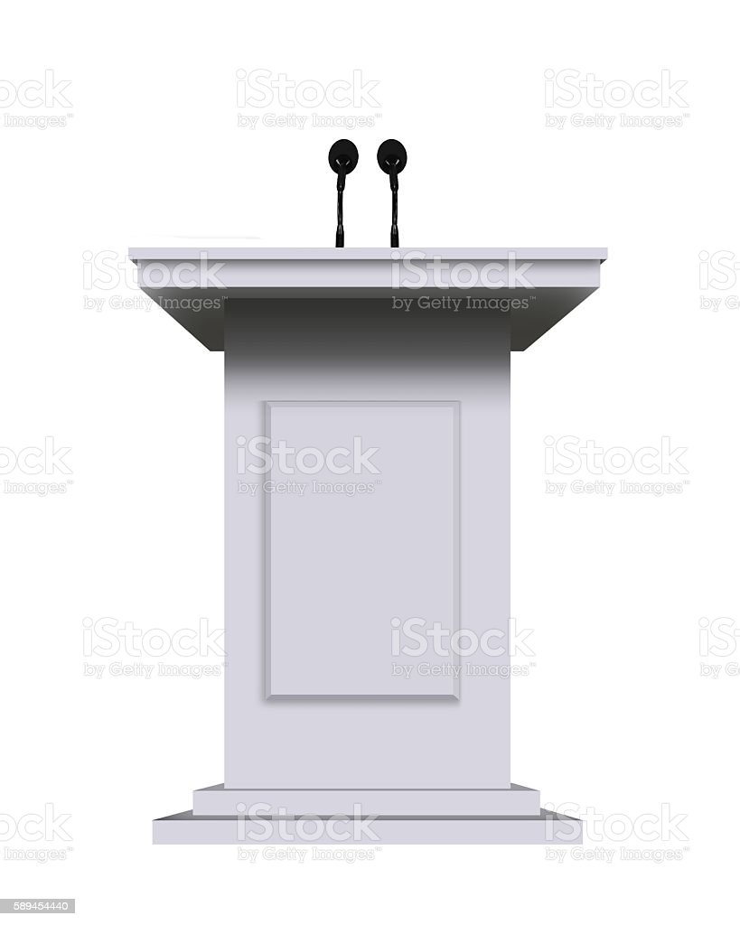 white podium rostrum stand with microphones isolated on white stock photo
