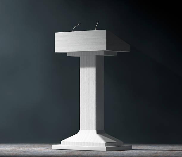 White Podium Tribune Rostrum Stand with Microphones. 3d Renderin stock photo