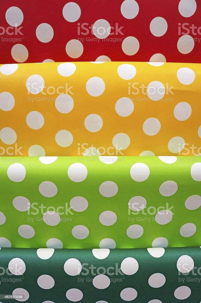 Bianco Con Pois Su Rosso Giallo Verde Sfondo Blu Fotografie Stock