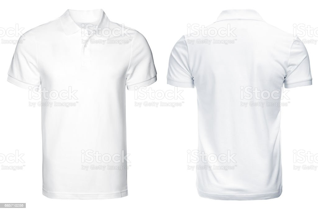 white Polo shirt, clothes. stock photo