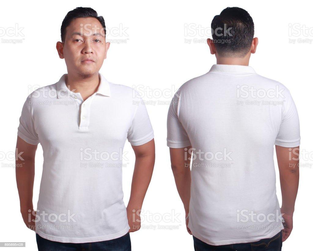 White polo shirt mockup template stock photo