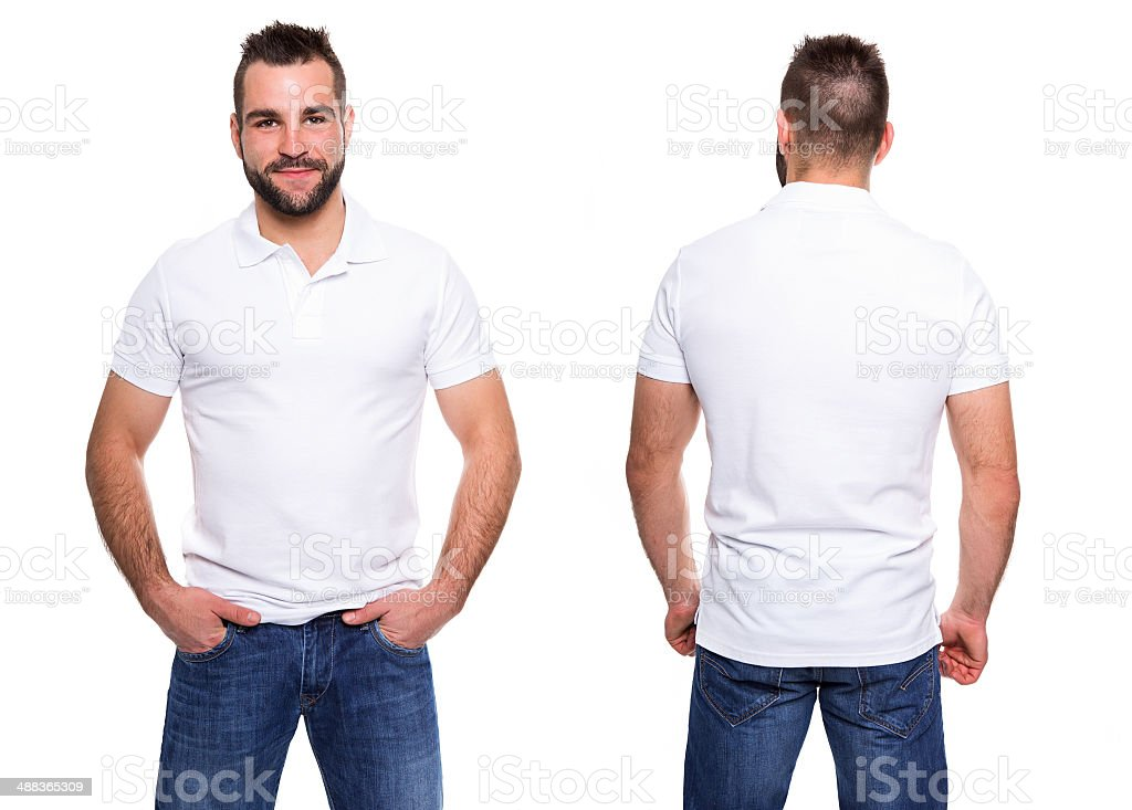 White polo shirt on a young man template stock photo