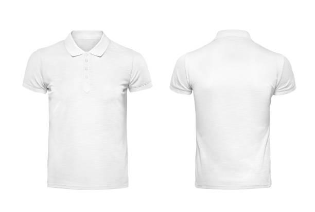 modelo de design de camisa polo branca t isolado no branco com traçado de recorte - camisa - fotografias e filmes do acervo
