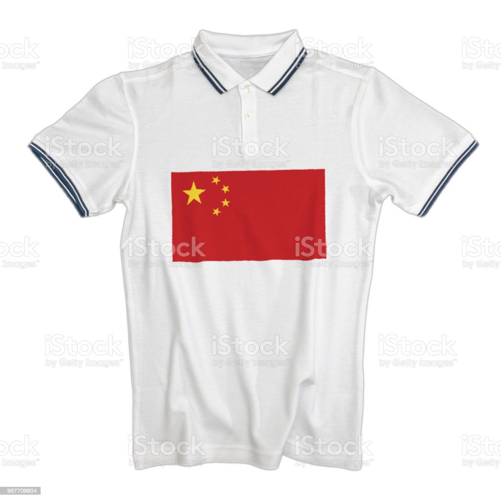 White polo t-shirt with the flag of China stock photo