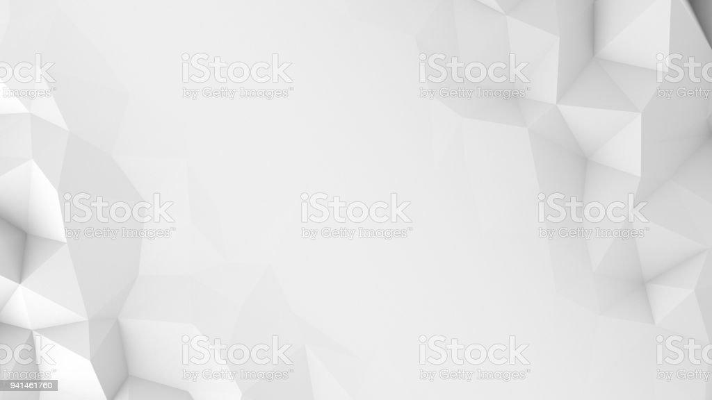 白いポリゴンと空き抽象的な 3 D レンダリングの背景 ストックフォト