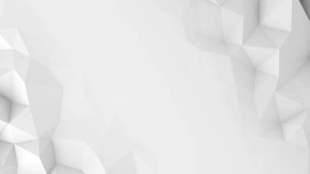 白いポリゴンと空き抽象的な 3 d レンダリングの背景 - 3d ストックフォトと画像