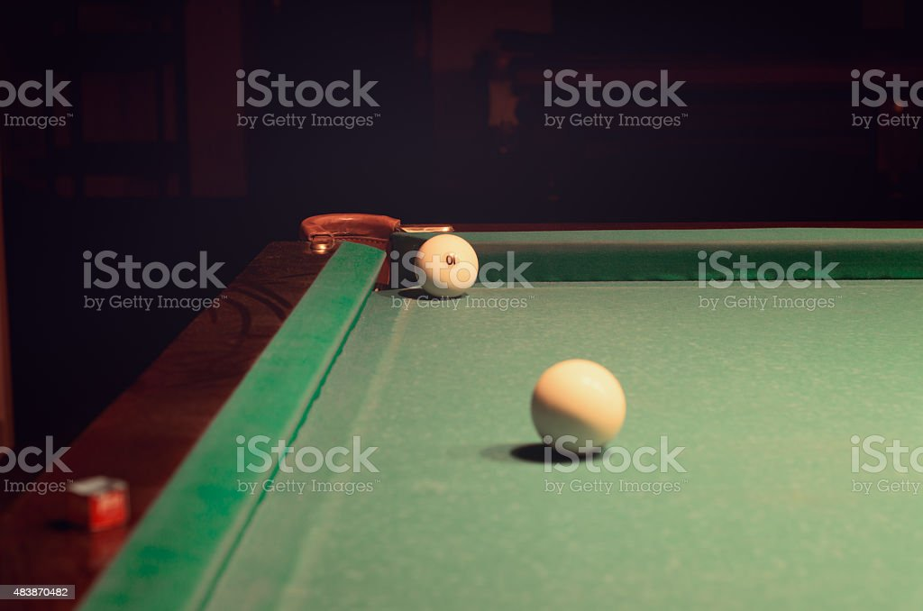 White Pool Ball On Billiard Table Near The Hole Stock Photo More - Pool table near by