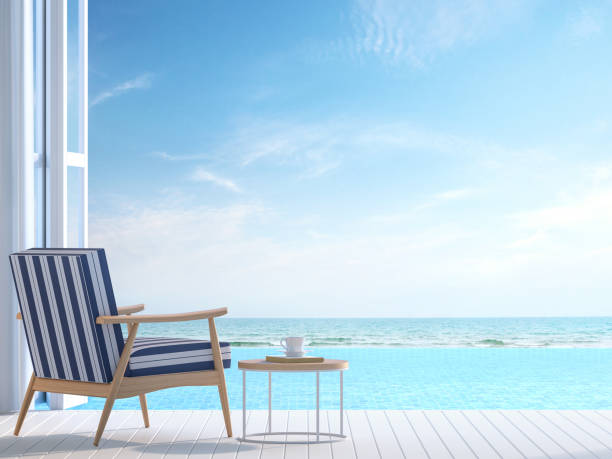 White pool villa terrace 3d render White pool villa terrace 3d render.There white wooden floor. Furnished with white and blue chair There are large open doors overlooks to borderless swimming pool and sea view. infinity pool stock pictures, royalty-free photos & images