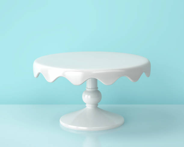 White porcelain cake stand on blue backgroung White porcelain cake stand on blue backgroung. 3D rendering cakestand stock pictures, royalty-free photos & images