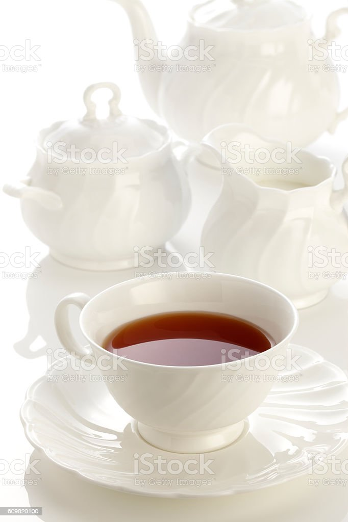 white porcelain tea set stock photo