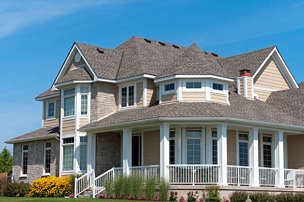 White Porch on Large New House stock photo