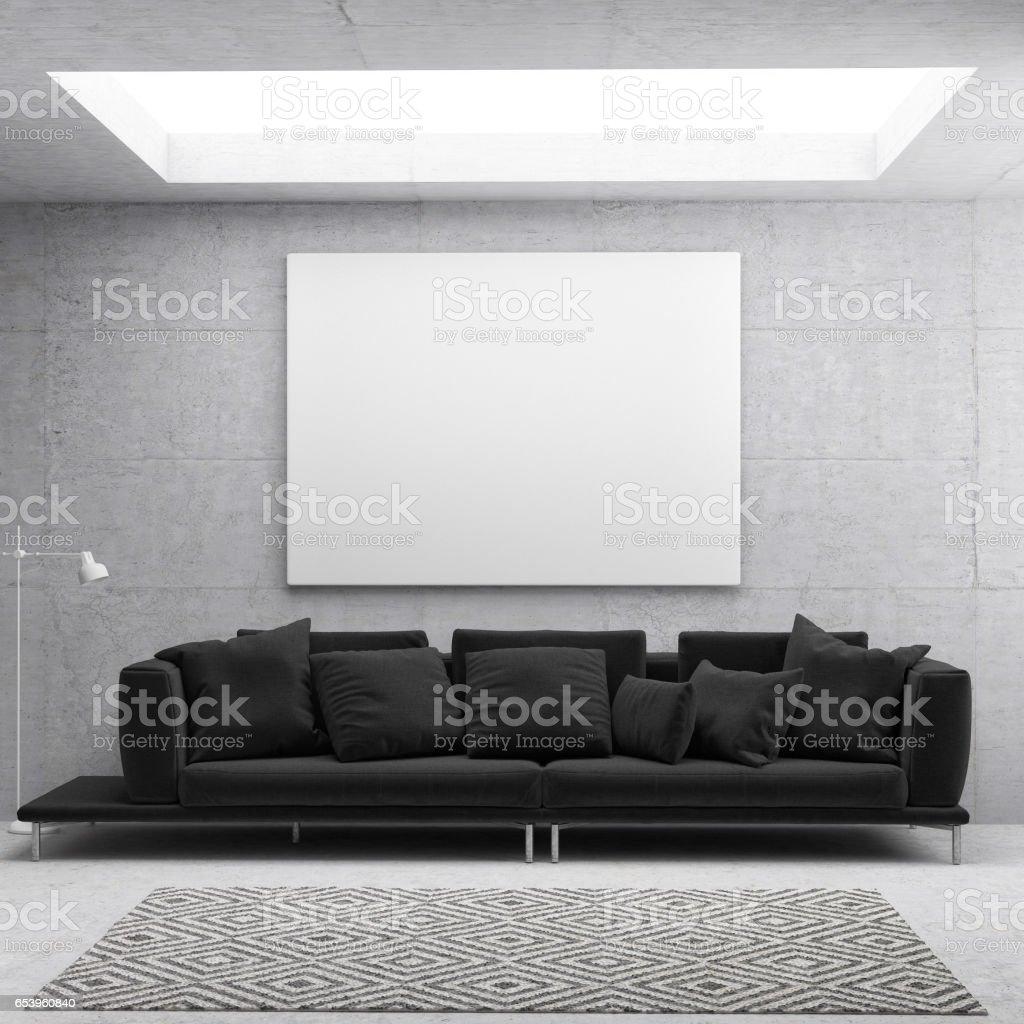 Weißes Plakat Im Skandinavischen Wohnzimmer Hintergrund Stock ...