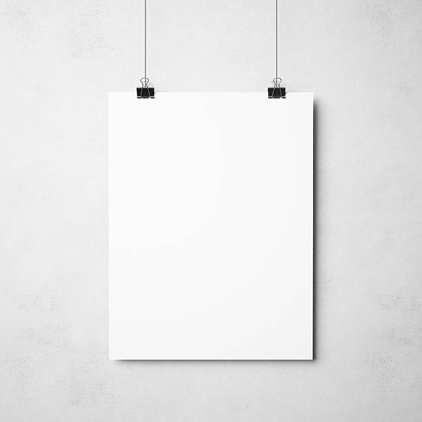 white poster on concrete background - poster stock pictures, royalty-free photos & images