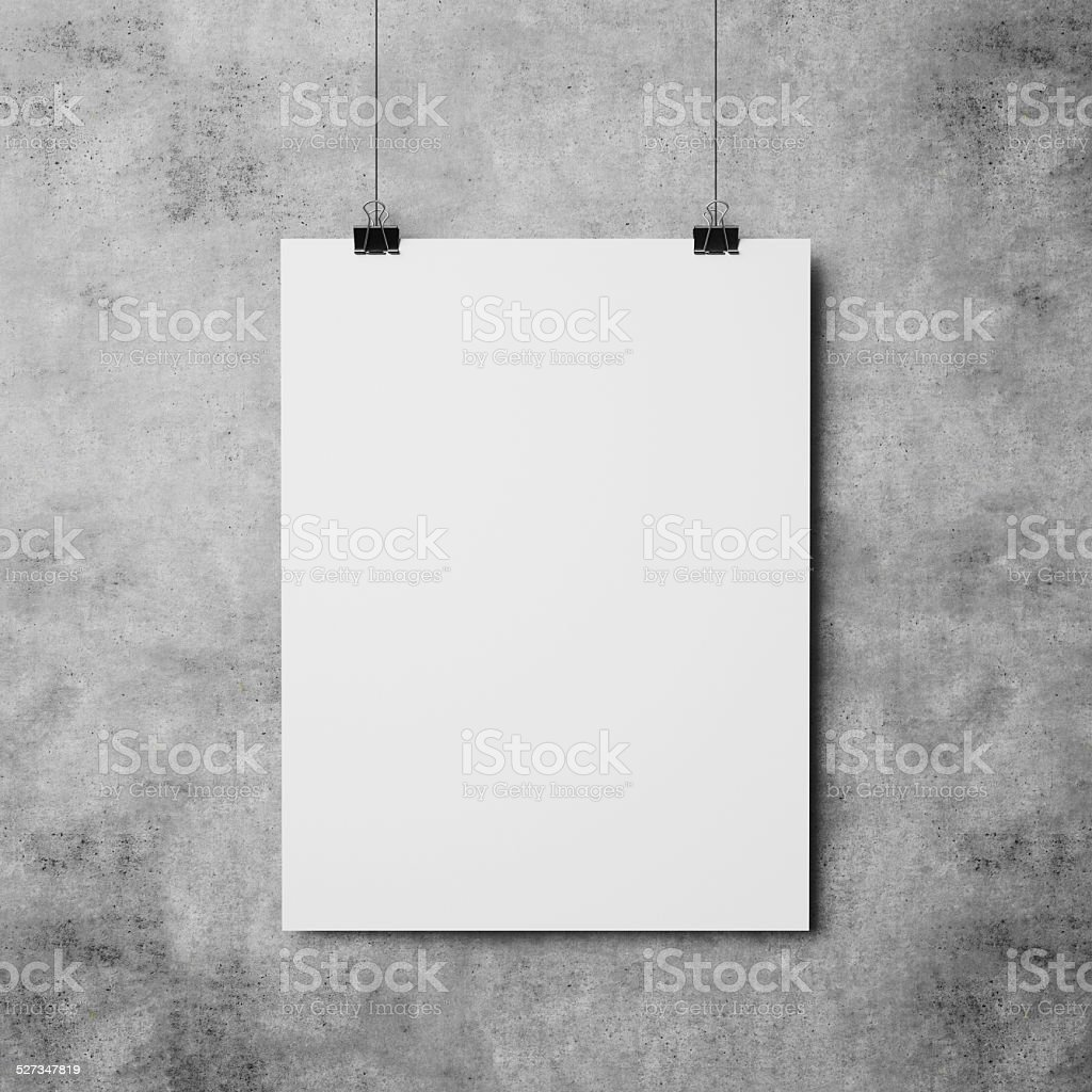 white poster on concrete wall background stock photo